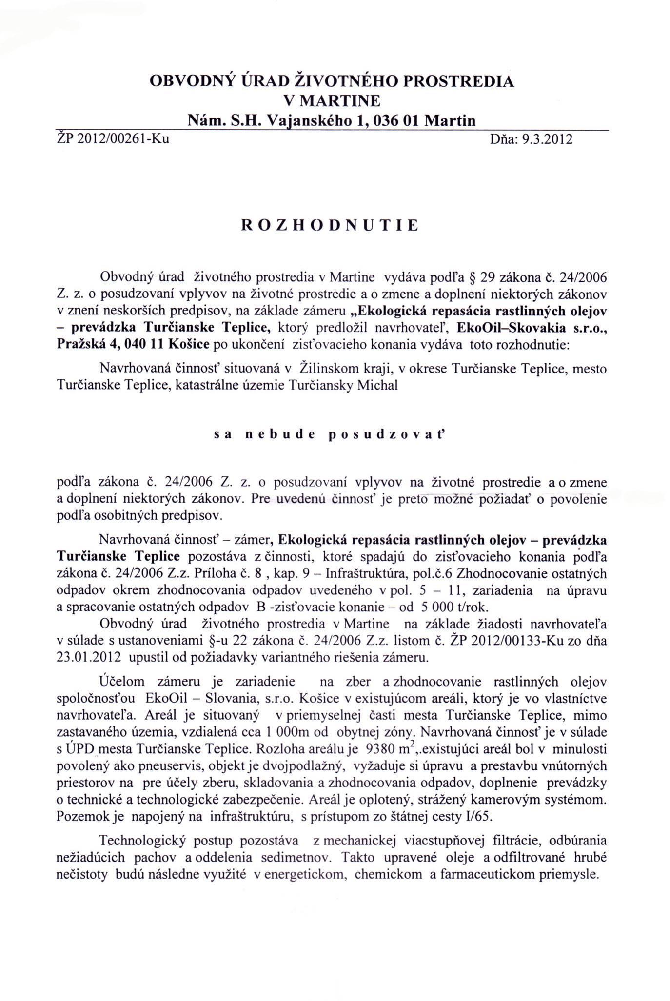 Rozhodnutie EIA 1 strana